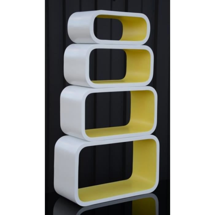 etag re cubes design set de 4 l ments blanc jaune achat vente etag re murale etag re. Black Bedroom Furniture Sets. Home Design Ideas