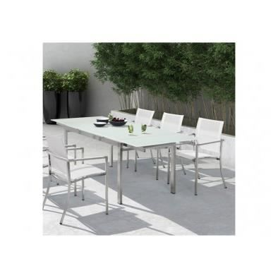 table extensible en inox et verre k a bayseasons design achat vente salon de jardin table. Black Bedroom Furniture Sets. Home Design Ideas