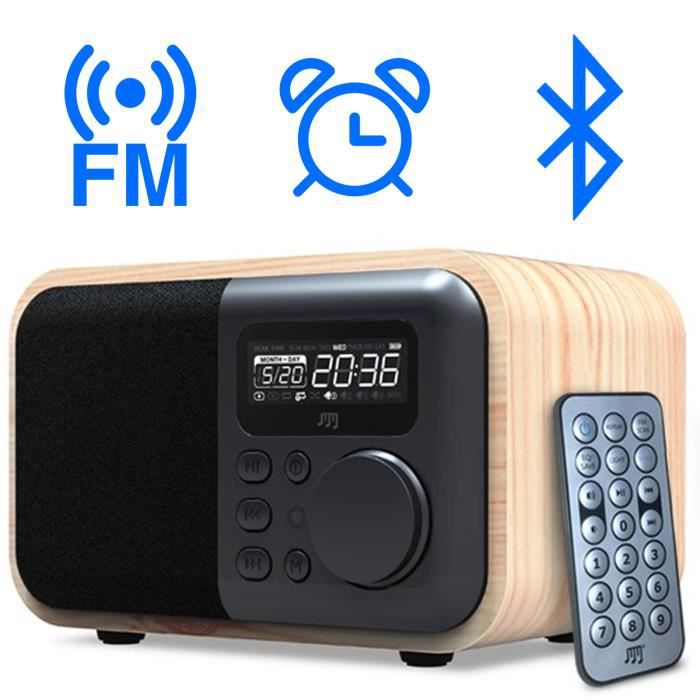 enceinte bluetooth fonction radio reveil design bois. Black Bedroom Furniture Sets. Home Design Ideas