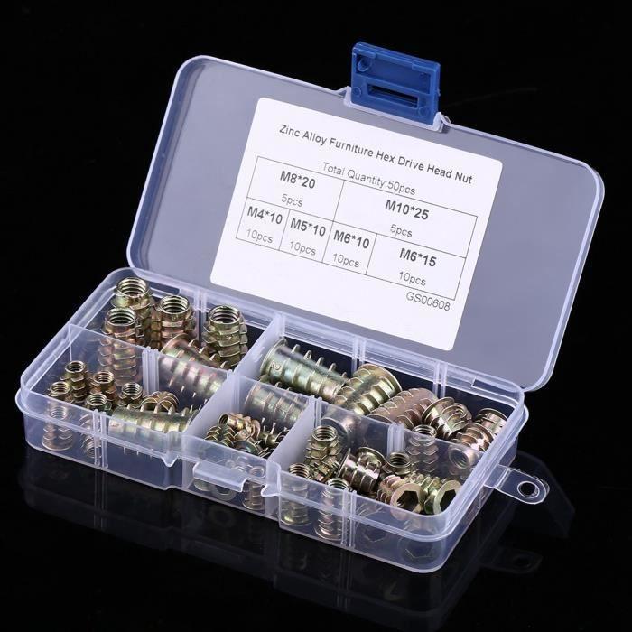 120 Pi/èces Acier au Carbone Plaqu/é au Zinc Inserts Filet/és /Écrou T/ête Ecrou M4 M5 M6 M8 M10