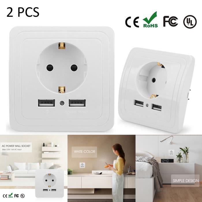 2.1A Blanc Ports Double USB Prise Murale Chargeur Réceptacle Power Panel Accs