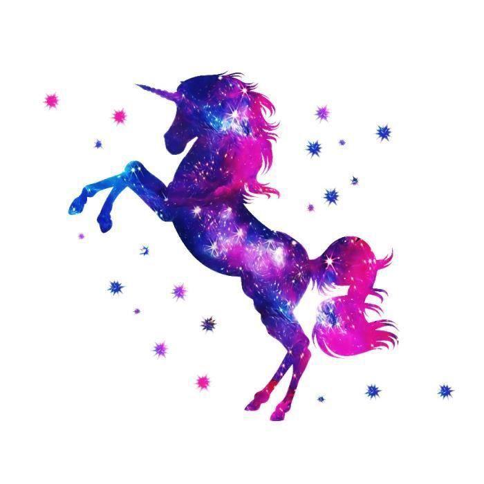 STICKERS Stickers muraux enfant Licorne ciel d'étoilés créa