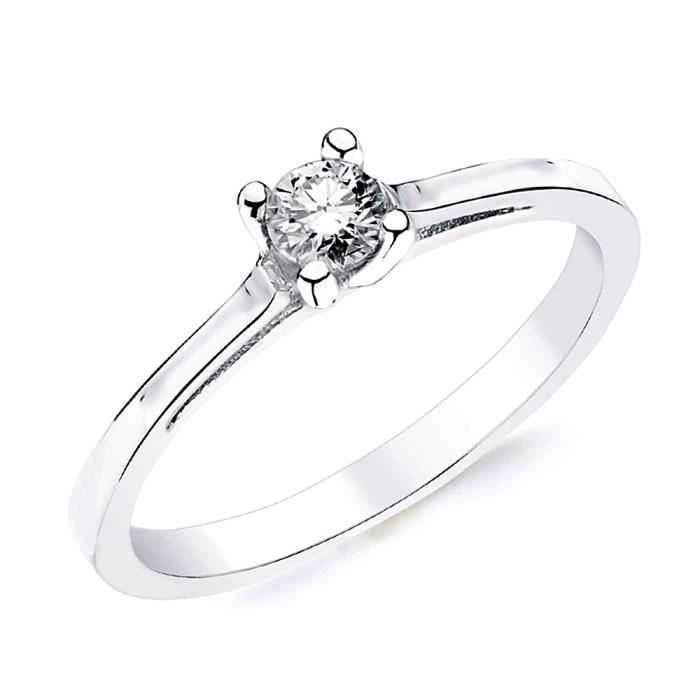 Bague solitaire Or blanc 18 0,200ct 1 diamant brillant. [AB2828] - Taille: 55