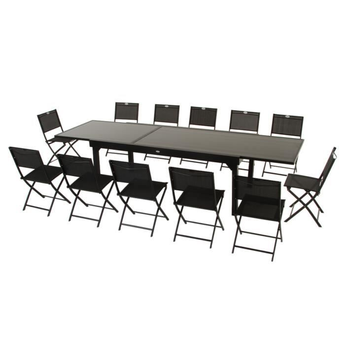 Table extensible clemence noire 8 12 places 320 x 100 x Table extensible 12 personnes