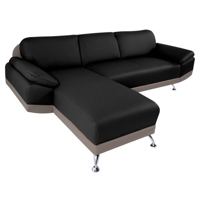 canap d 39 angle gauche switsofa city noir taupe achat. Black Bedroom Furniture Sets. Home Design Ideas