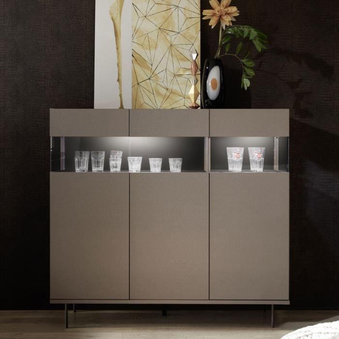 BUFFET - BAHUT  Buffet 3 portes Bronze/Métal à LEDs - TARENTE n°1