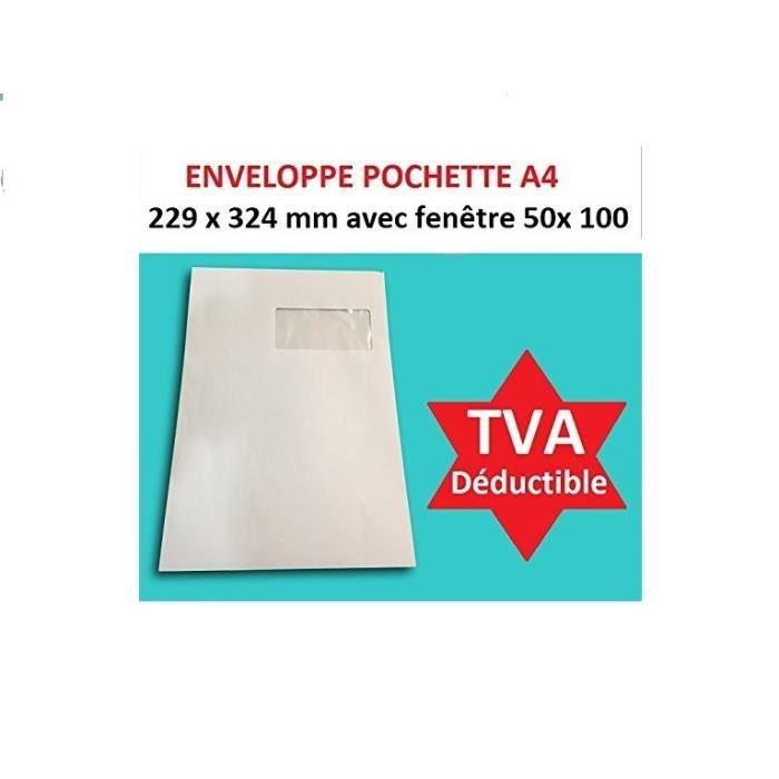 lot de 500 Grande enveloppe pochette courrier A4 C4 papier kraft blanc 90g format 229 x 324 mm une enveloppe blanche avec fermeture bande adh/ésive autocollante siliconn/ée