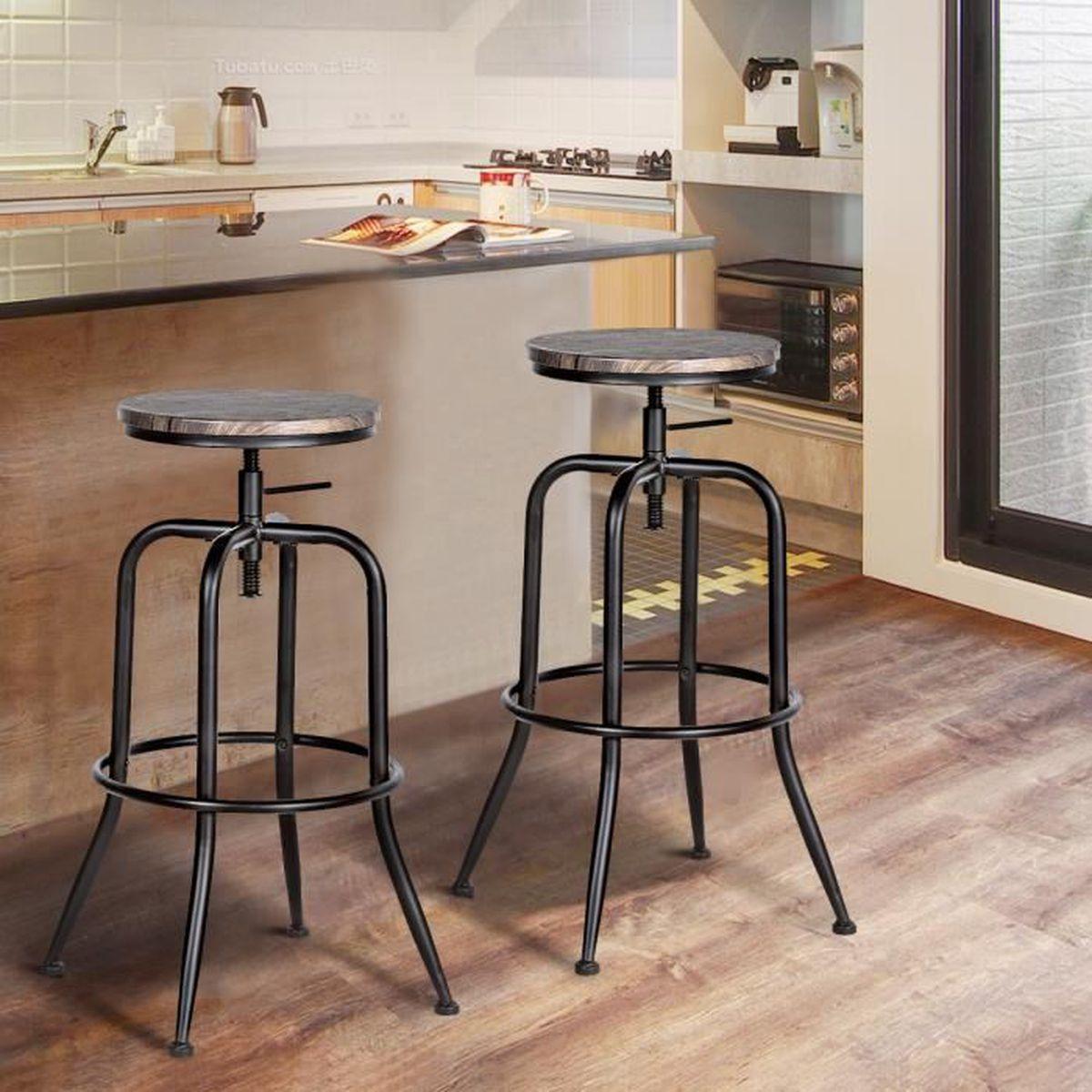 Cuisine Bois Et Metal lot de 2 tabouret de bar industriel style tabouret cuisine