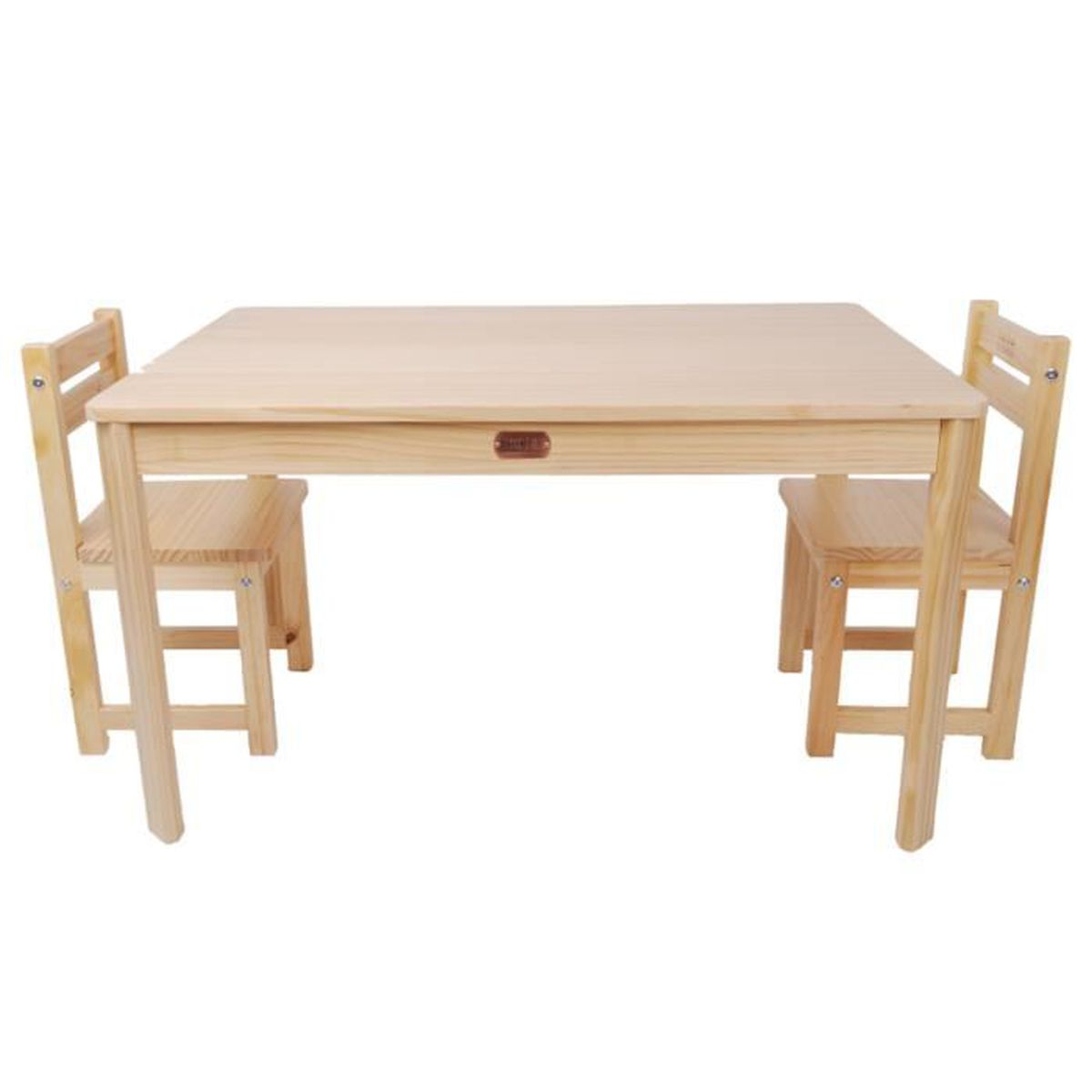 ensemble table rectangulaire et 2 chaises pour enfant en bois coloris naturel achat vente. Black Bedroom Furniture Sets. Home Design Ideas