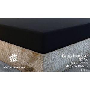 DRAP HOUSSE 140x190 cm Noir 100% COTON -