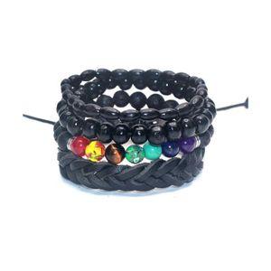 BRACELET - GOURMETTE Combo 4 bracelets tendance pour homme en cuir, boi