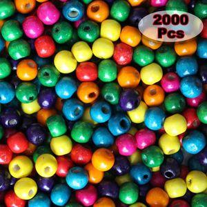 Blanc Perle en bois ronde Ø 8 mm lot de 50 perles
