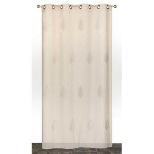 VOILAGE Voilage en Etamine Brodée Feuilles Galet 140 x 240