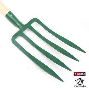 BÊCHE Fouche à bêcher 4 dents avec manche bois. Spear &