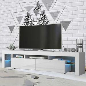 MEUBLE TV Meuble Télé Blanc avec LED décoration ULTRA long 2