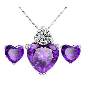 PARURE Collier Boucles d'oreilles diamant Coeur Style ele
