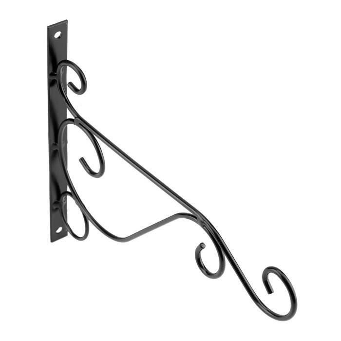 Support de suspension de plante de fer crochet crochet de fleur pour la décoration de jardin à la maison 25 * 21cm (noir)-LAT