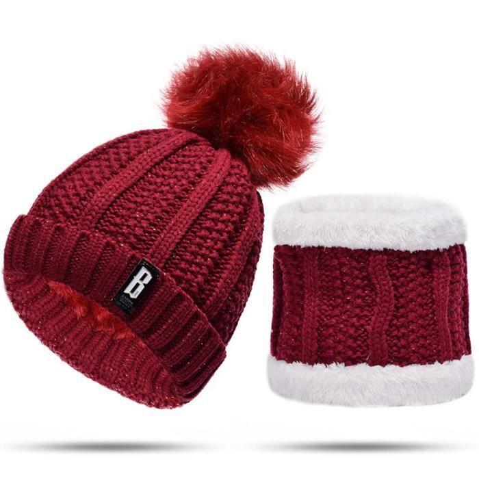 Bonnet tricoté pour femmes et écharpe cercle doublé laine épais tricot casquette Rouge foncé