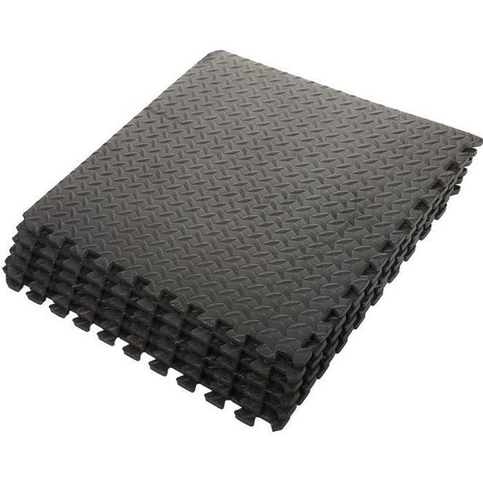 Ensemble de 6 tapis mousse de sol 63 x 63 x 1,2 cm, Noir Ensemble de 6 Carrées EVA - Tapis de Sol, Sport, Gymnastique, Yoga, Noir 60