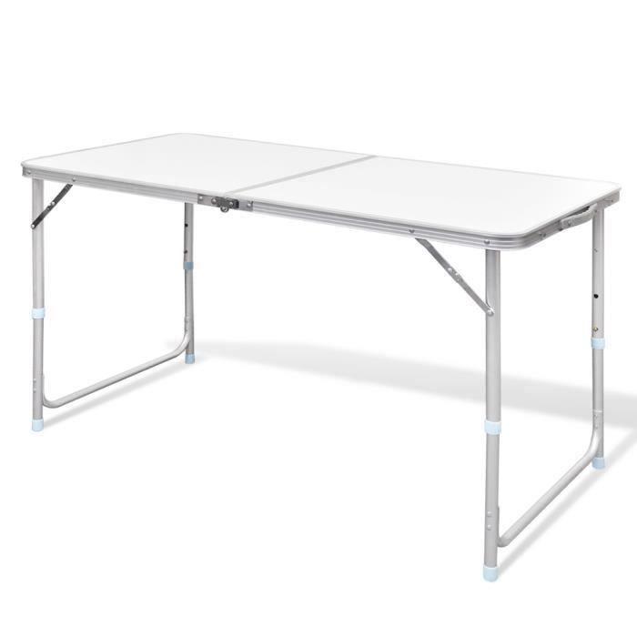 Table pliante de camping en Aluminium Réglable en hauteur 120 x 60 cm pour jardin pique-niques d'extérieur