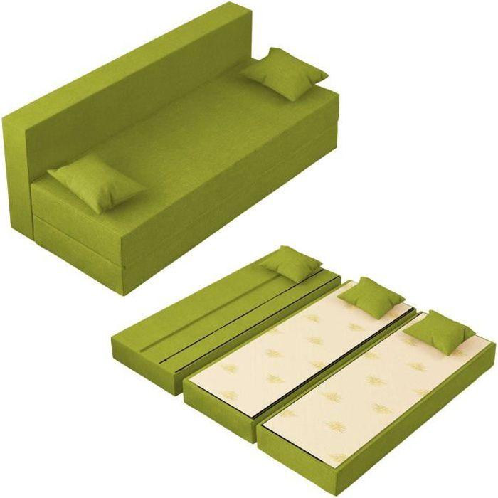 Canapé Lit TreTris Convertible Modulable Réversible 3 places - Tissu dehoussable et lavable Couleur Verte