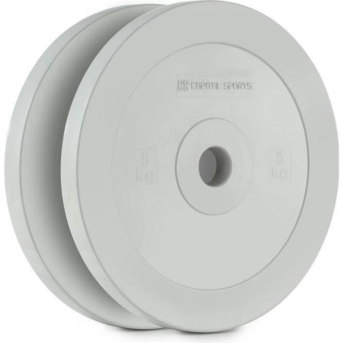 CAPITAL SPORTS Methoder Paire de disques poids en caoutchouc 5kg – gris