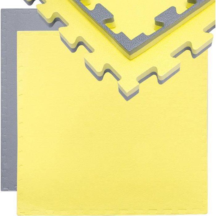 Tapis Puzzle de Fitness Protection Sol de Sport 90x90x2cm Gris Jaune