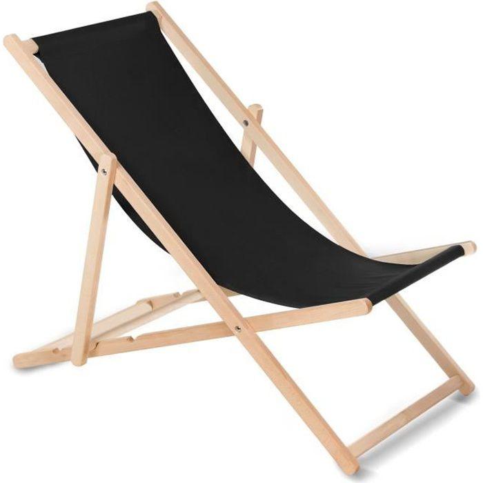 Chaise longue bain de soleil pliante à dossier réglable noir