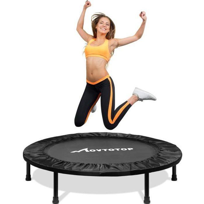 Mini trampoline 38 pouces, trampolines d'intérieur pliables avec coussin de sécurité, mini trampoline amusant de remise en forme