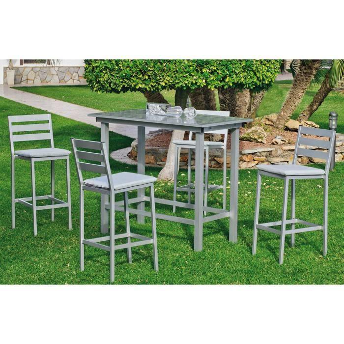 Ensemble de Jardin Galicia 1 Table Bar + 4 Chaises Hautes Gris