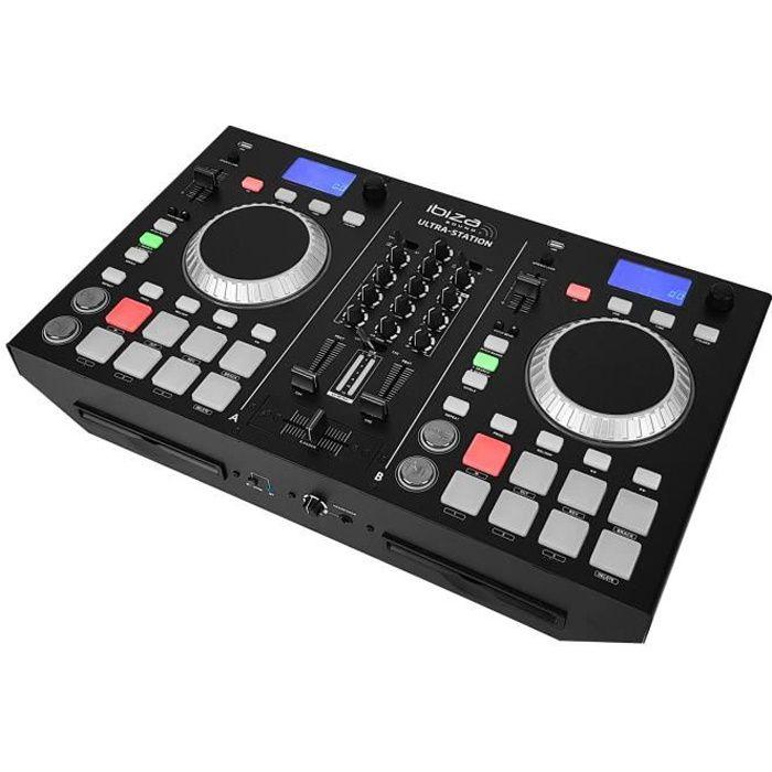 Régie DJ - Table de mixage 2 canaux + Double lecteur CD - BLUETOOTH - IBIZA ULTRA-STATION