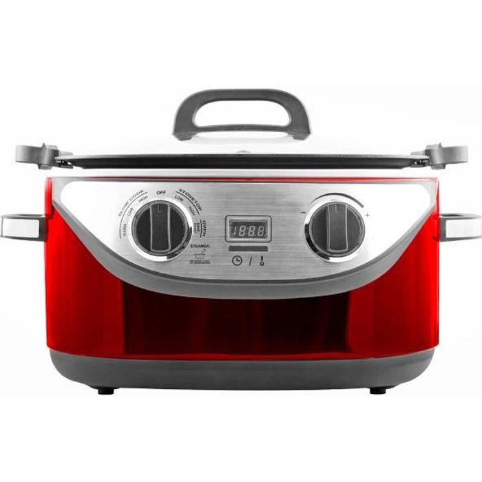 KITCHEN COOK - COOKOTTERED - Multicuiseur 8 en 1 - 5,6L - 1350W - 120-220°C - Inox Rouge