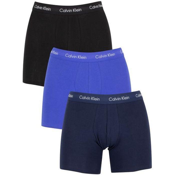 Calvin Klein Homme Lot de 3 boxers en coton extensible, Bleu