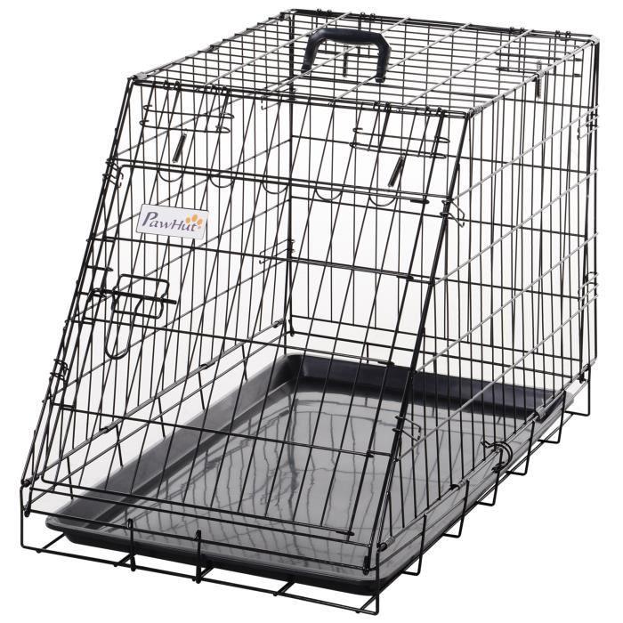 Cage de transport pour chien en aluminium L dim. 76L x 48l x 55H cm noir 76x48x55cm Noir