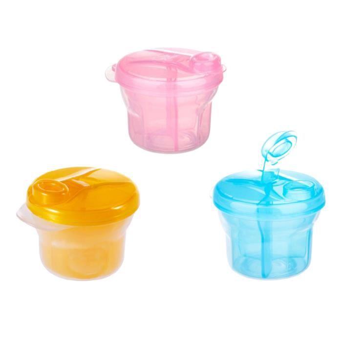 3 Pcs Rotatif Lait En Poudre Boîte Bébé Conteneur De Stockage Portable Rangement (Rose, Bleu, Orange) ASSIETTE - PLATEAU REPAS