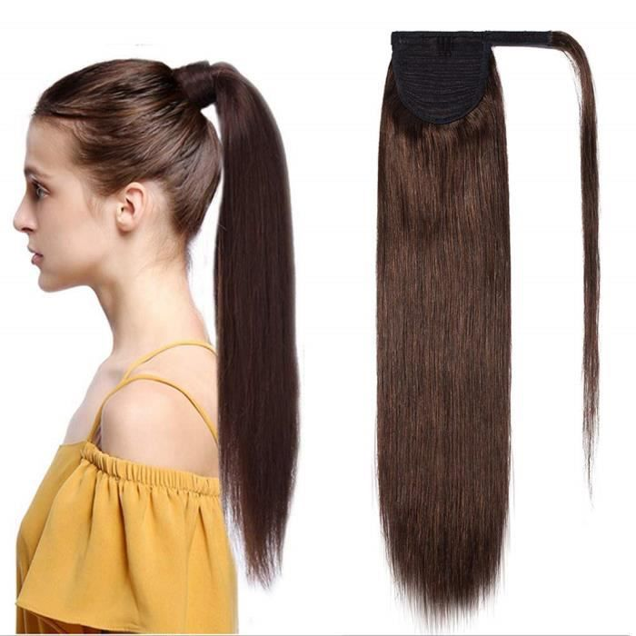 Extension En Queue de Cheval Lisse Cheveux Humain Naturel Clip In Ponytail Extension Wrap Around Facile A Porter - 20 Pouces[#4