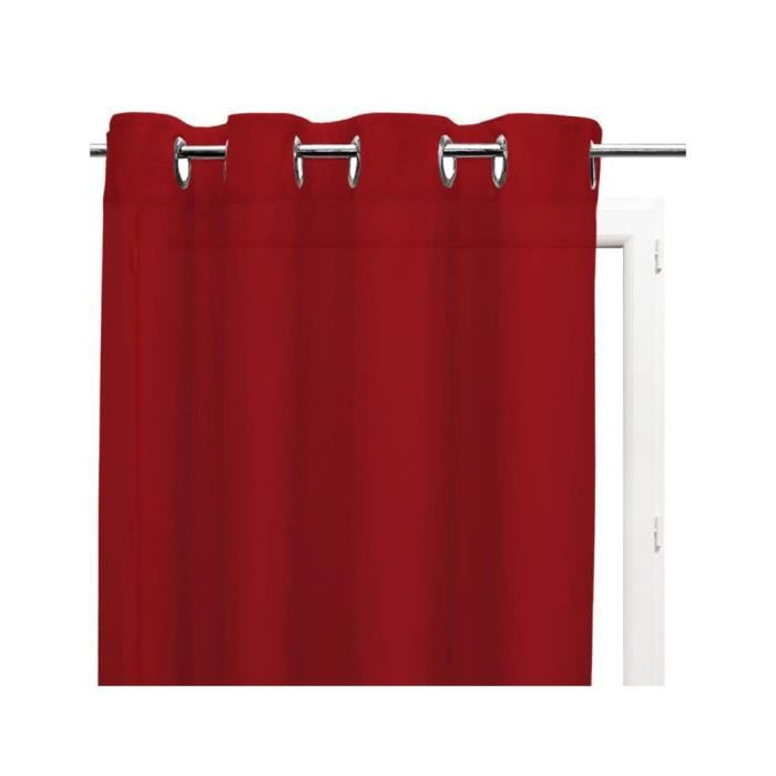 Voilage rouge à oeillets métal 135x250 cm
