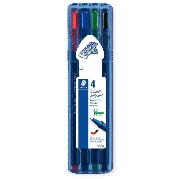 triplus® ball 437 XB - Etui chevalet STAEDTLER® box 4 stylos-bille pointe large assortis