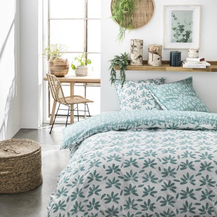 TODAY Parure de couette 100 % Coton 220x240cm SUNSHINE #3.16 - Vert et blanc