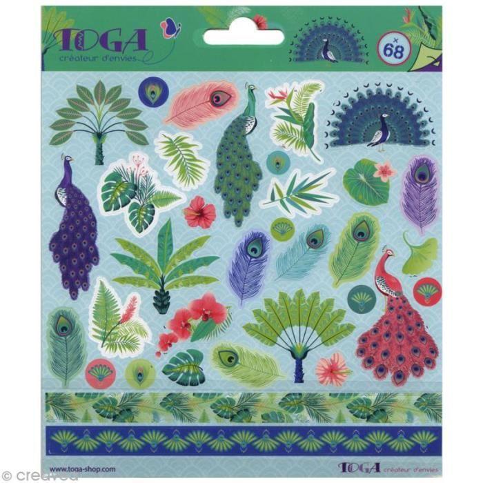 Stickers Toga - Paon - 2 planches de 15 x 15 cm - 68 pcs