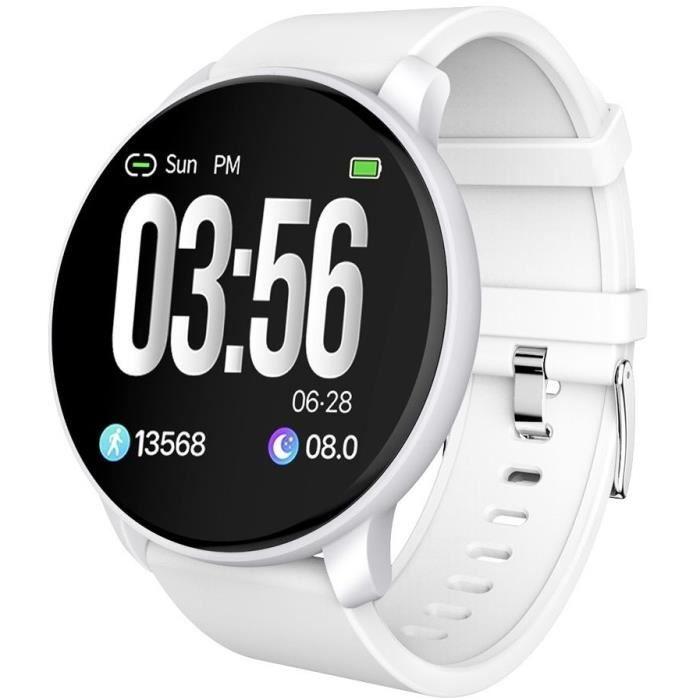 SF+ Montre connectée - Smartwatch élégante - Multisports - Cardio - Bluetooth - Waterproof - Blanc
