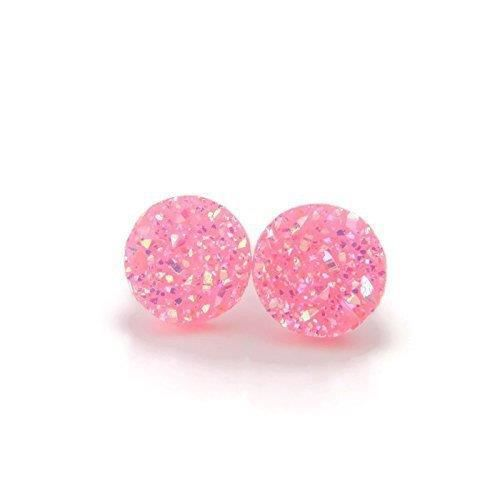 Womens 12mm Round Faux Druzy Studs Plastic Post Earrings For Metal Sensitive Ears, Holo Bright Pin D5WY7