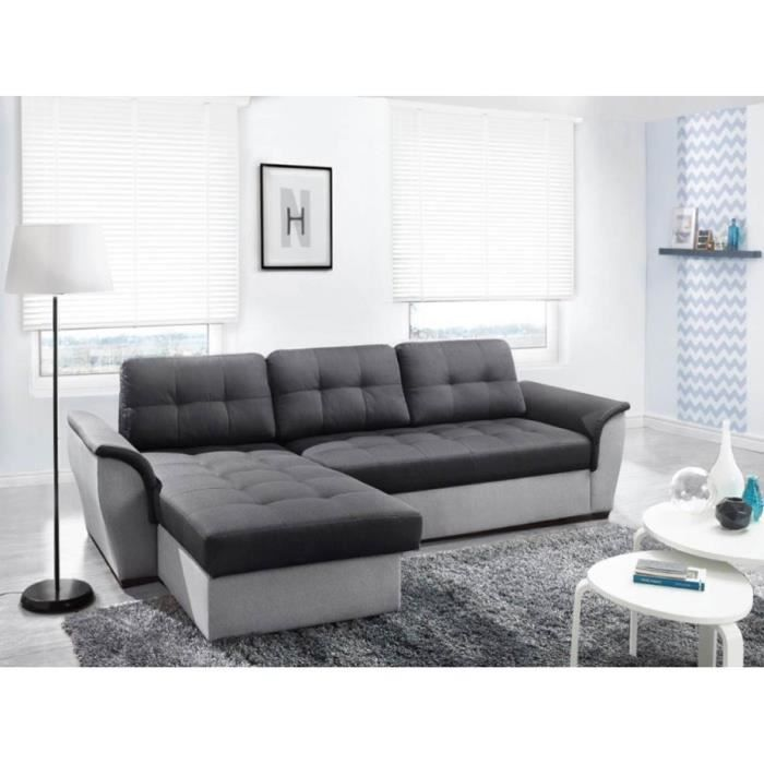 canap d 39 angle convertible nevo gris fonc gris clair avec coffre achat vente canap sofa. Black Bedroom Furniture Sets. Home Design Ideas