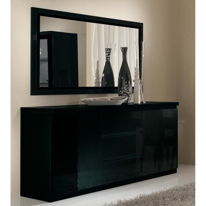 bahut roma noir laque 2 portes 3 tiroirs achat vente. Black Bedroom Furniture Sets. Home Design Ideas