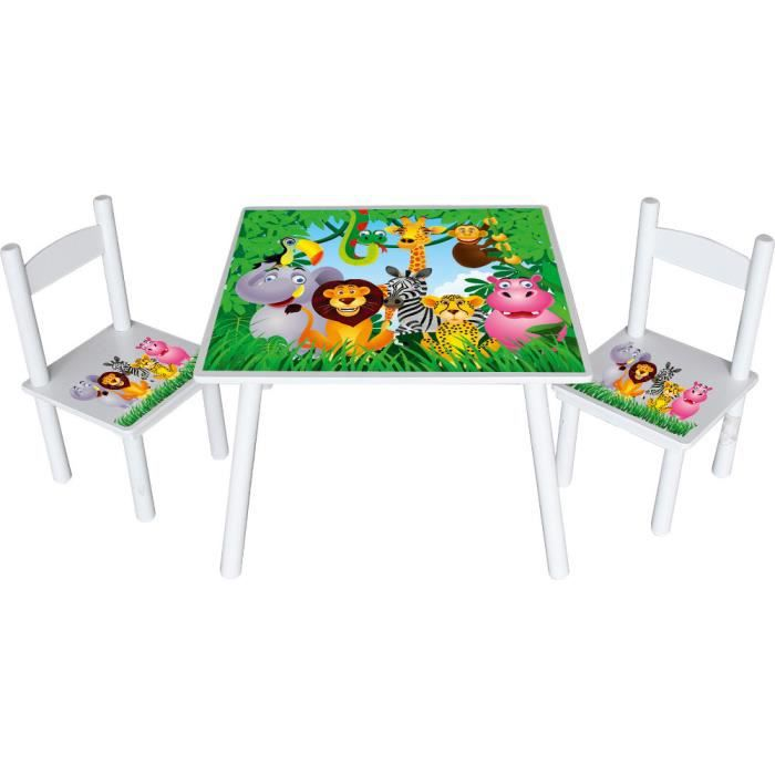 Table et chaises animaux de la jungle achat vente for Table et chaise bebe 2 ans