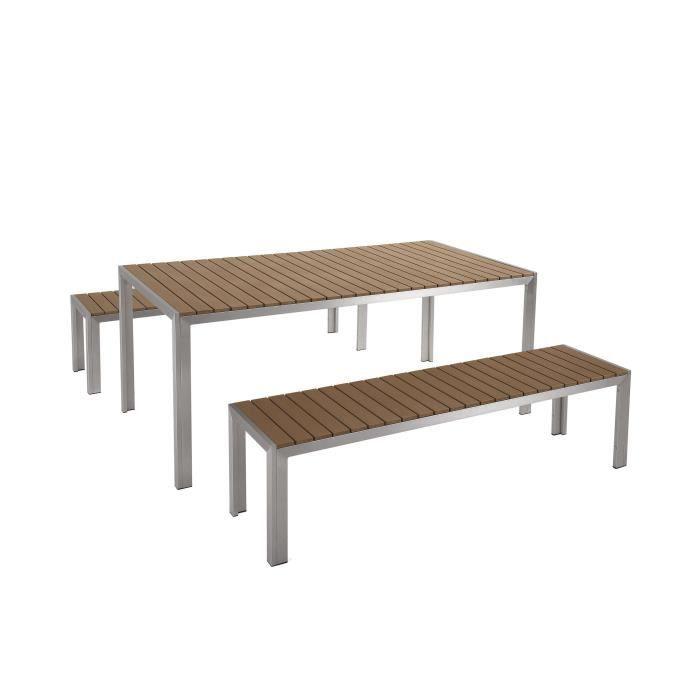 Table de jardin aluminium brun - plateau en polywood 180 cm ...