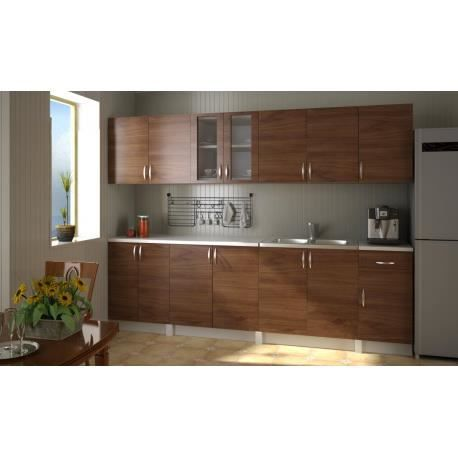 meubles de cuisine quip e kit marron 2 6m achat vente. Black Bedroom Furniture Sets. Home Design Ideas