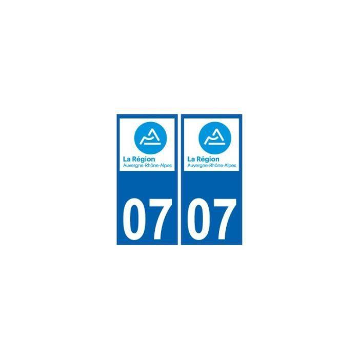 Département 07-2 autocollants style immatriculation AUTO PLAQUE AUVERGNE 2018