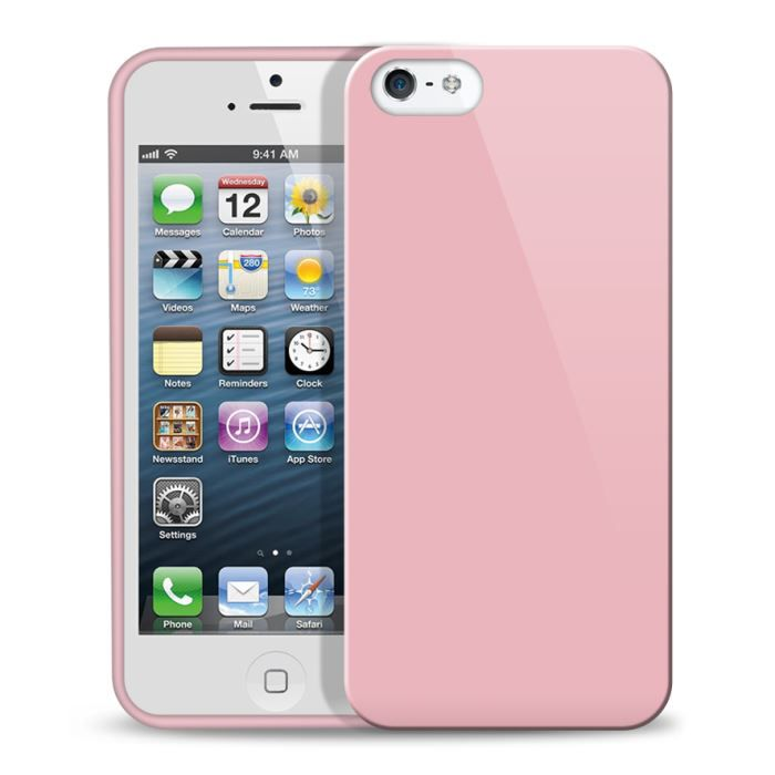 telephonie accessoires portable gsm coque iphone  silicone glossy rose bonbon f gen