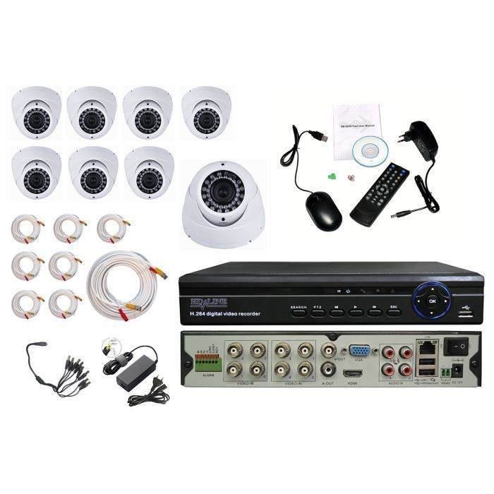 kit video surveillance 8 cameras domes cctv dvr achat. Black Bedroom Furniture Sets. Home Design Ideas